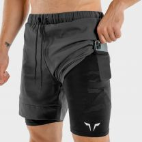 LIMITLESS 2 IN 1 SHORTS BLACK WITH BLACK CAMO