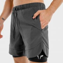 LIMITLESS 2 IN 1 SHORTS CHARCOAL WITH BLACK CAMO